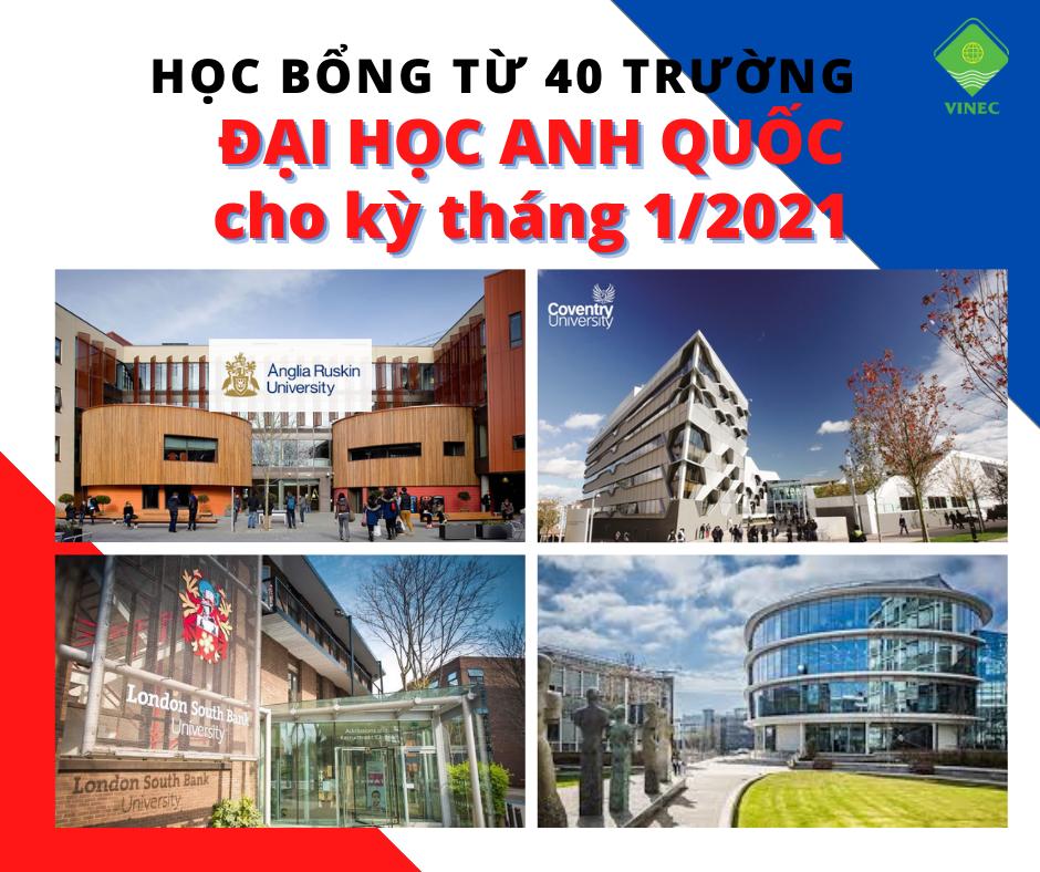 Thông tin và học bổng 40 trường Đại Học Anh Quốc có kỳ nhập học tháng 1/2021